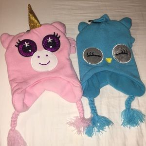 NWT Fleece Lined Unicorn / Owl Hat & Glove Set